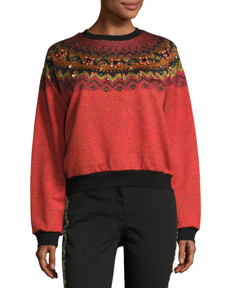 Etro Jewel-Embellished Geometric Crewneck Sweatshirt, Orange