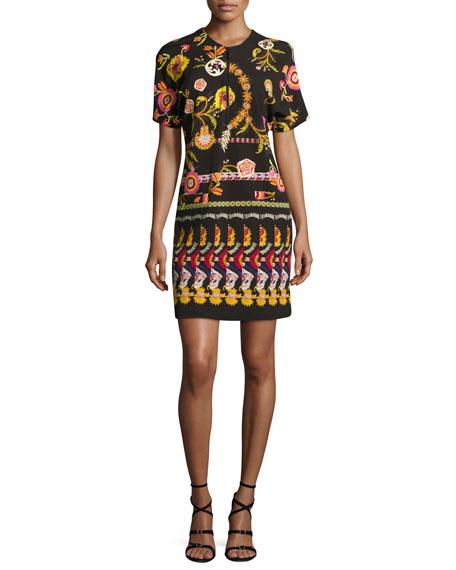 Floral Paisley Ponte Zip-Front Minidress, Black