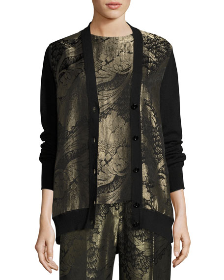Etro Floral Lamé Jacquard Short-Sleeve Top, Black and