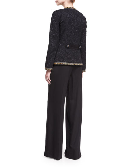 Floral Brocade Jacket with Lurex® Trim, Black