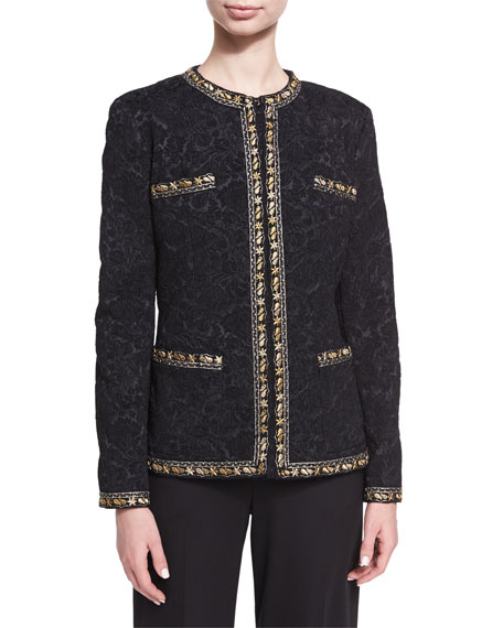 Etro Floral Brocade Jacket with Lurex® Trim, Black