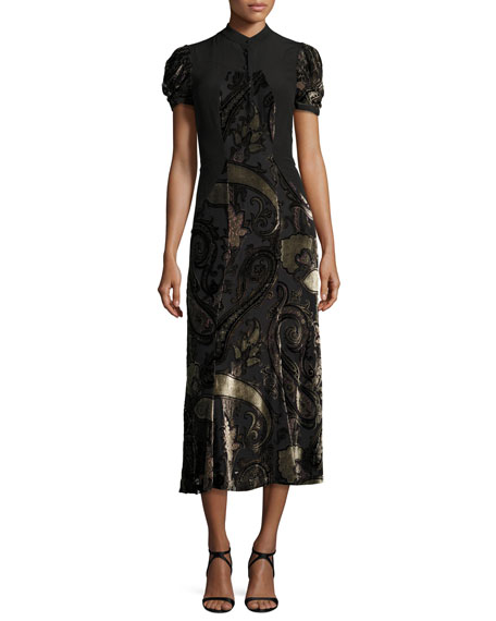 Etro Paisley Dévoré Short-Sleeve Midi Dress, Black