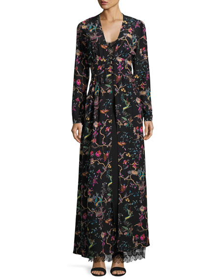 Etro Mythical Floral Long-Sleeve Lace-Inset Gown, Black
