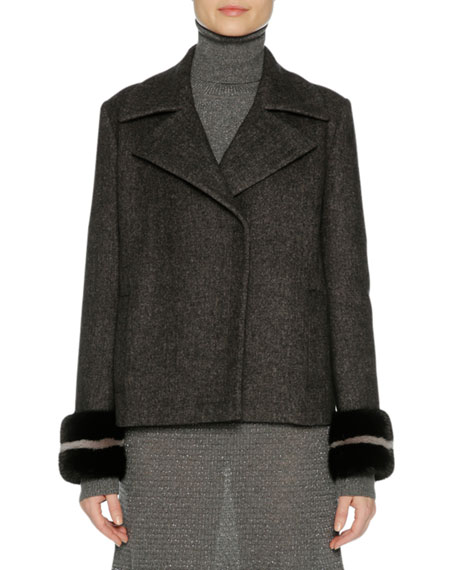 Agnona Wool-Cashmere Peacoat with Mink Fur Cuffs, Gray/Black