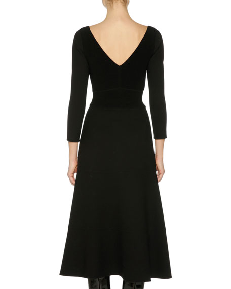 3/4-Sleeve A-Line Midi Dress, Black