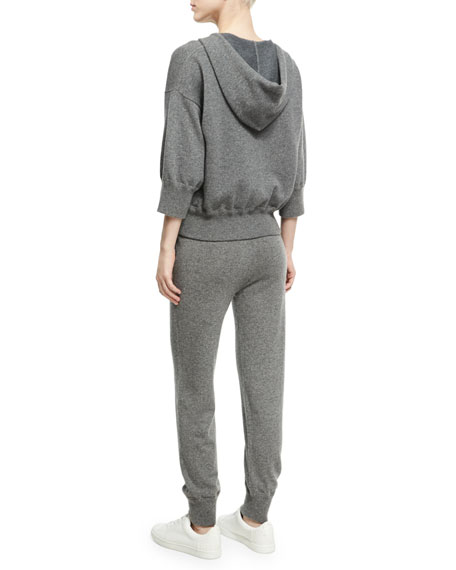 Cashmere-Wool Cropped Zip-Front Hoodie, Charcoal