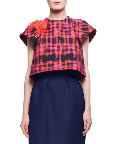 Delpozo Floral-Detail Short-Sleeve Cropped Jacket, Pink