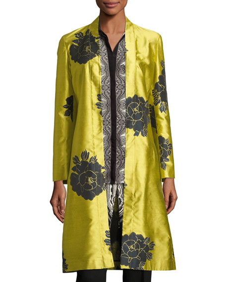Floral Shantung Belted Topper, Yellow