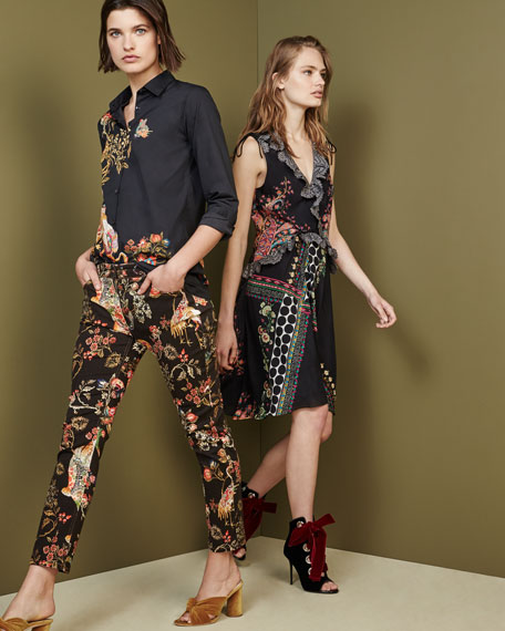 Sleeveless Lace-Trim Paisley High-Low Dress