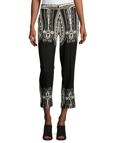 Etro Paisley Wool Cropped Straight-Leg Pants, Black