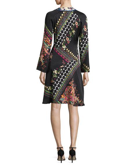 Mixed Paisley Jacquard Long-Sleeve Dress, Black