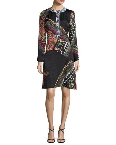Etro Mixed Paisley Jacquard Long-Sleeve Dress, Black