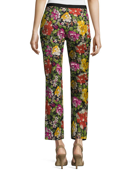 Floral-Embroidered Slim Ankle Pant, Black