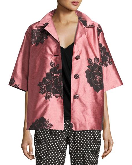 Floral Shantung Belted Jacket, Blush/Black