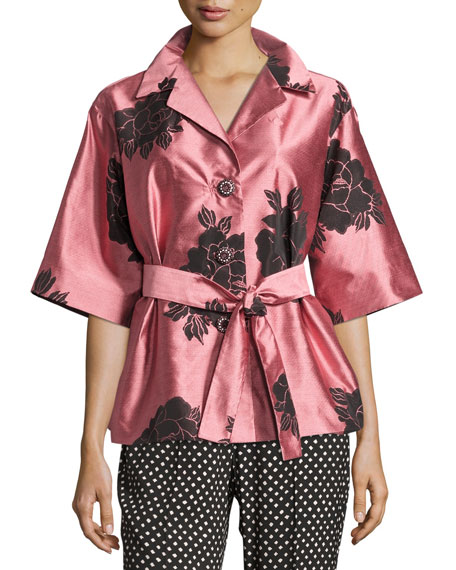 Etro Floral Shantung Belted Jacket, Blush/Black
