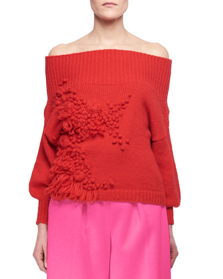 Floral Off-the-Shoulder Sweater, Red