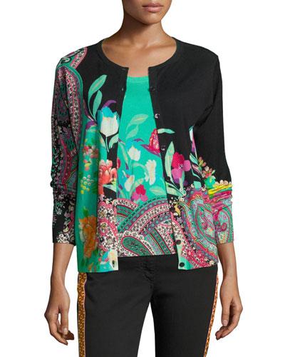 Floral-Print Two-Piece Cardigan Set, Black
