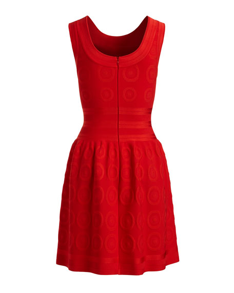 Sleeveless Fit-and-Flare Circle Jacquard Dress