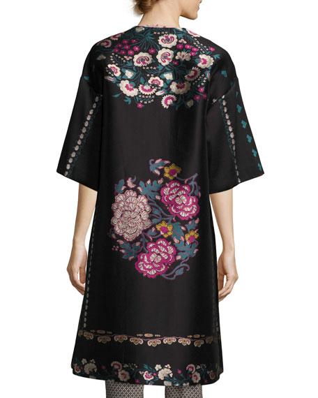 Floral-Embroidered Kimono Topper Coat, Black