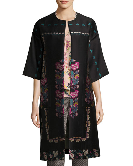 Etro Floral-Embroidered Kimono Topper Coat, Black