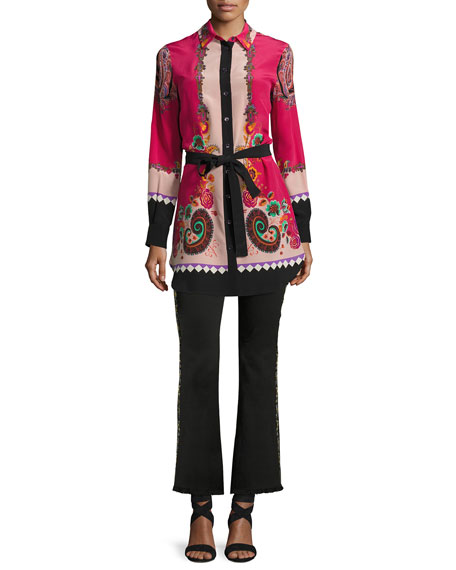 Belted Floral-Print Silk Tunic, Pink