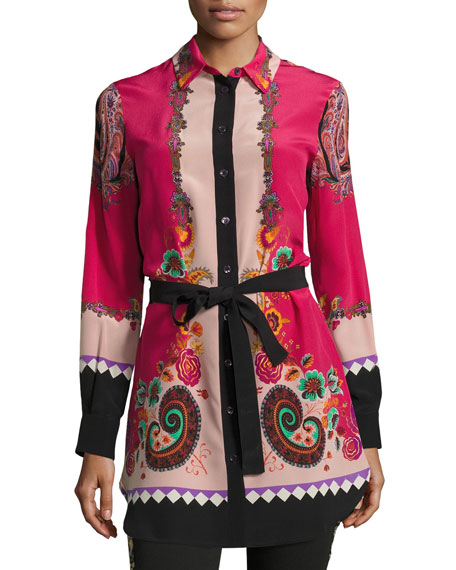 Etro Belted Floral-Print Silk Tunic, Pink