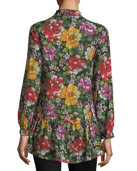 Embroidered Floral Silk Peplum Top