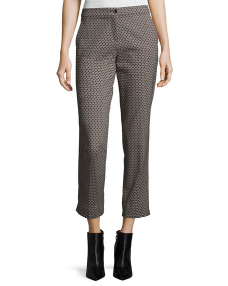 Etro Diamond-Dobby Slim Cropped Pants, Green/Red