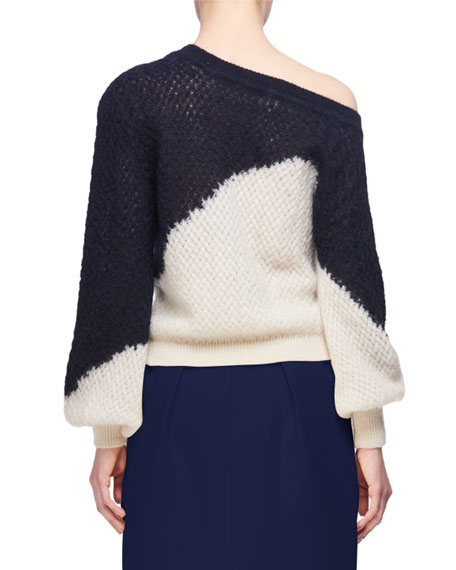 Off-the-Shoulder Two-Tone Sweater, Dark Blue/White