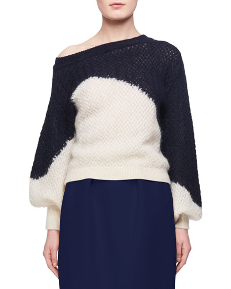 Delpozo Off-the-Shoulder Two-Tone Sweater, Dark Blue/White