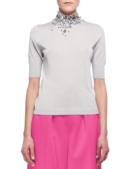 Delpozo Embellished Half-Sleeve Mock-Neck Sweater, Silver
