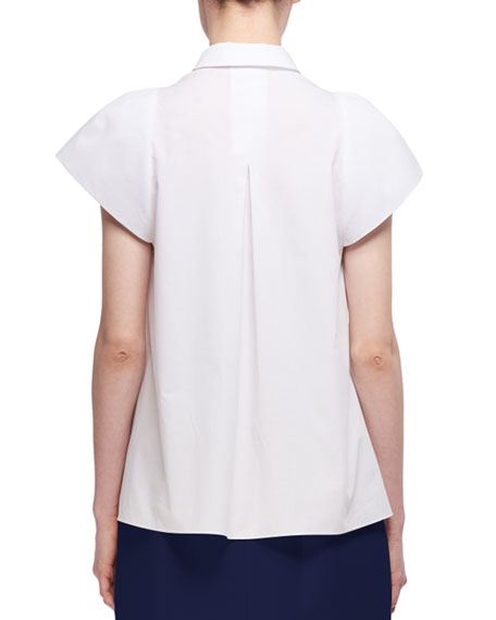 Sculpted Short-Sleeve Cotton Shirt, White