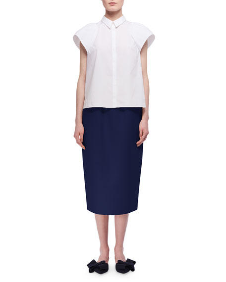 Sculpted Short-Sleeve Cotton Shirt, White
