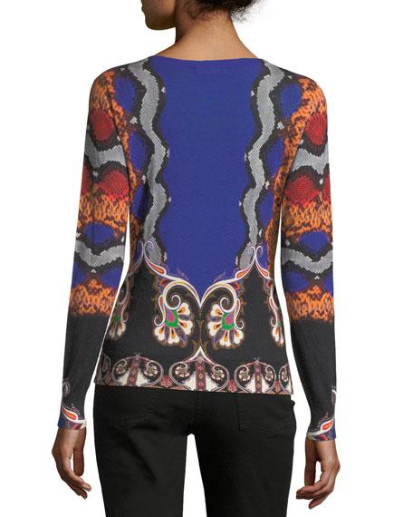 Snake-Print V-Neck Silk-Cashmere Sweater
