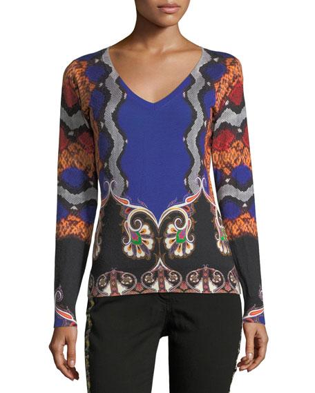 Etro Snake-Print V-Neck Silk-Cashmere Sweater