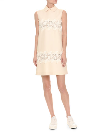 Valentino Sleeveless Lace-Trim Crepe Couture Dress, White