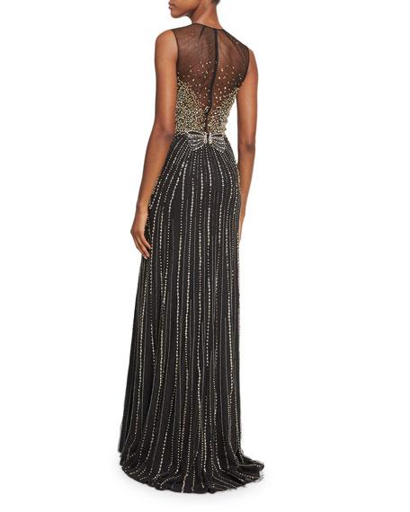 Beaded Bow Sleeveless Column Gown, Black