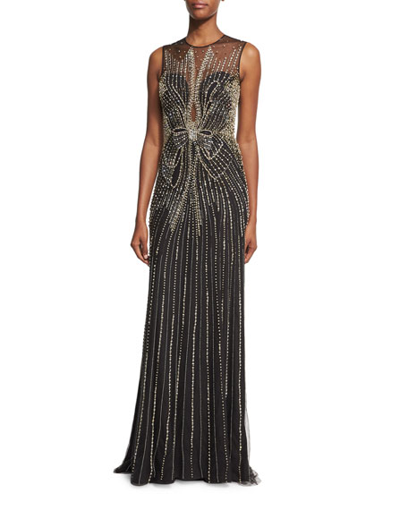 Jenny Packham Beaded Bow Sleeveless Column Gown, Black