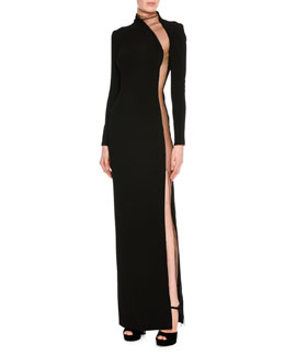 Illusion-Panel Silk Long-Sleeve Gown, Black