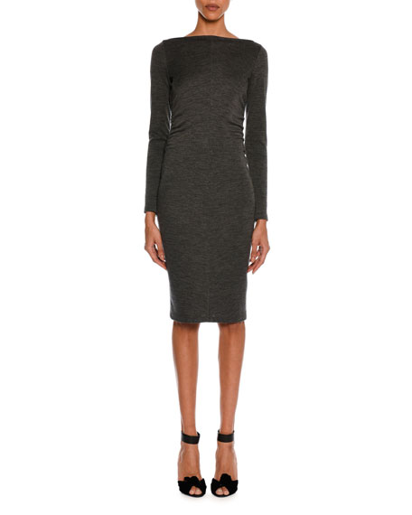 TOM FORD Mélange Jersey Long-Sleeve Ruched Dress, Gray