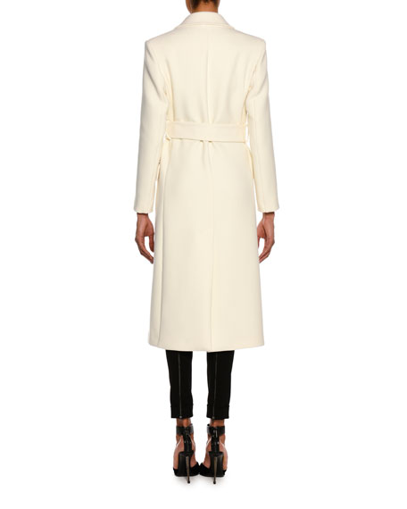 Tailored Wool Long Coat with Belt