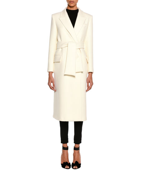 TOM FORD Tailored Wool Long Coat with Belt