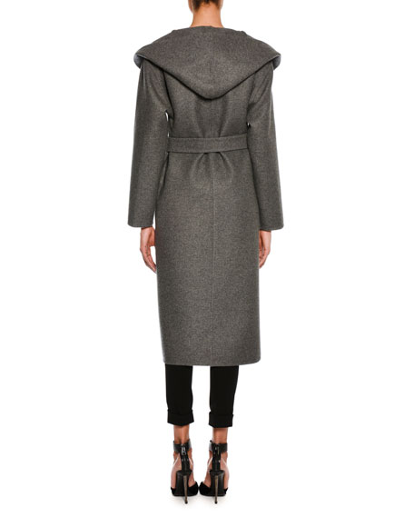 Cashmere Belted Coat with Hood