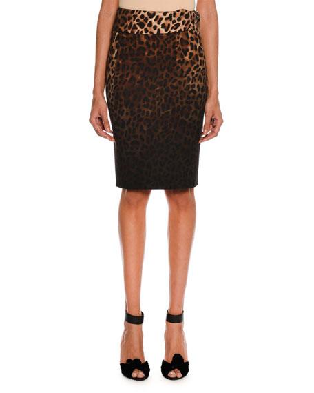 Belted Dégradé Jaguar-Print Pencil Skirt