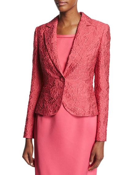 Escada Floral Matelasse One-Button Blazer, Pink Myrtle