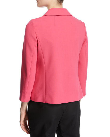 Relaxed 3/4-Sleeve Jacket, Pink Myrtle
