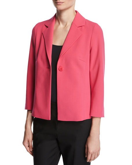 Escada Relaxed 3/4-Sleeve Jacket, Pink Myrtle