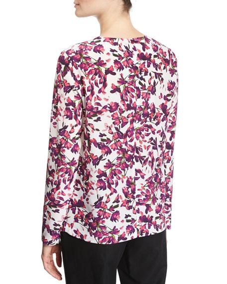 Floral Petal-Print Silk Long-Sleeve Top, Fantasy