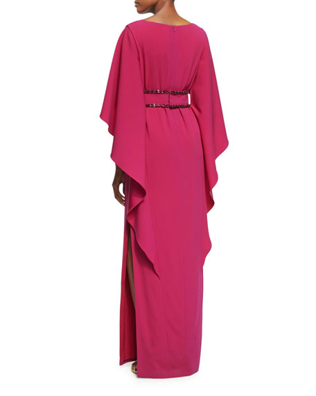 Cape-Sleeve Jewel-Trim Gown, Magenta