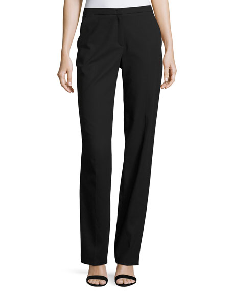 Escada Tamineh Classic Stretch-Cotton Boot-Cut Pants, Black